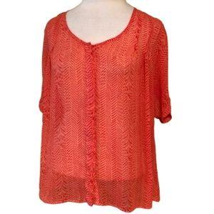 ANTHROPOLOGIE Maeve Silk Button Down Blouse Medium